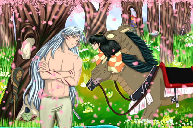 Lord-Sesshomaru, Rin, Jaken and Au-Un