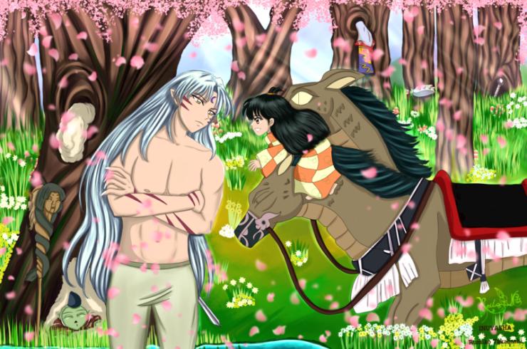 Lord-Sesshomaru, Rin, Jaken and Au-Un